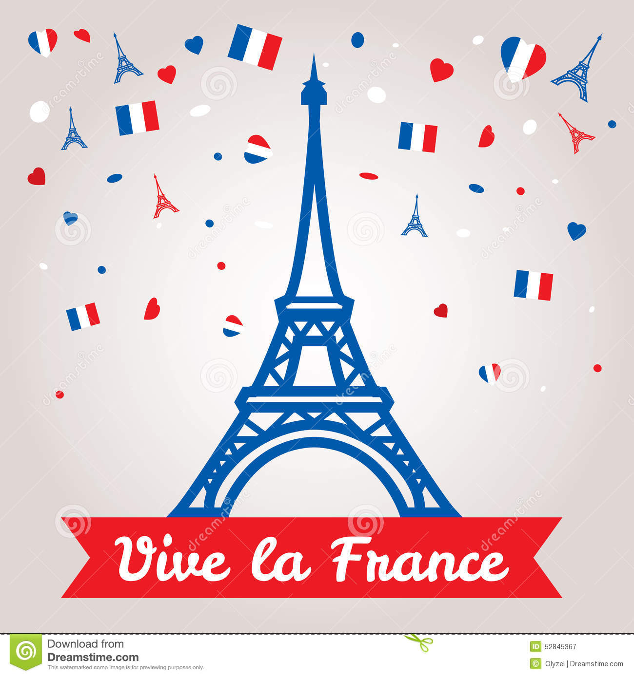Greeting Card Design For The Bastille Day 14 July Or Another.