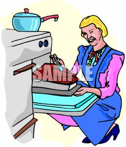 Art Image: A Woman Basting a Turkey In an Oven.