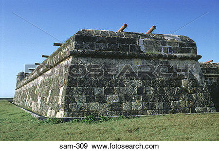 Stock Photograph of Corner Bastion of Renaissance Fort Murallas.