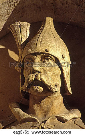 Stock Image of WARRIOR STATUE grace FISHERMAN'S BASTION built in.