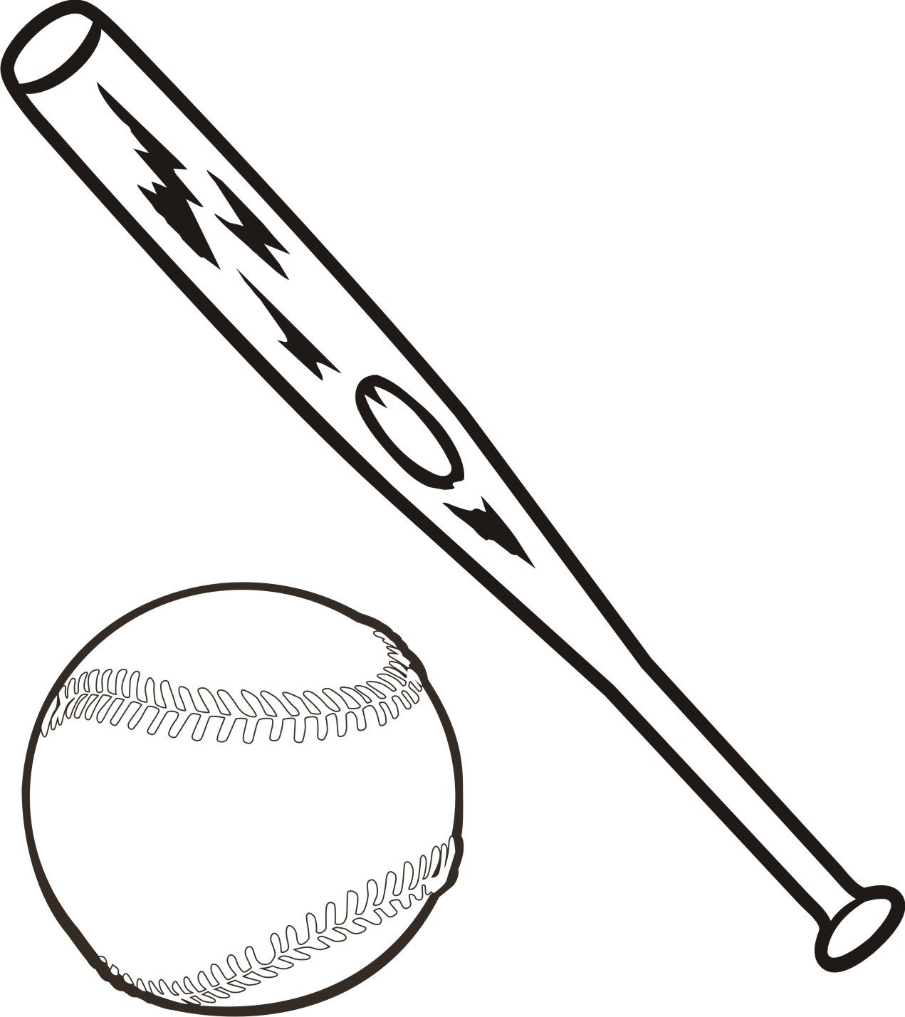 Bat and ball clipart black and white 3 » Clipart Portal.