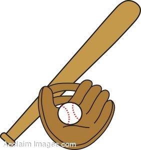 Clip Art of a Baseball With a Mitt And Bat.