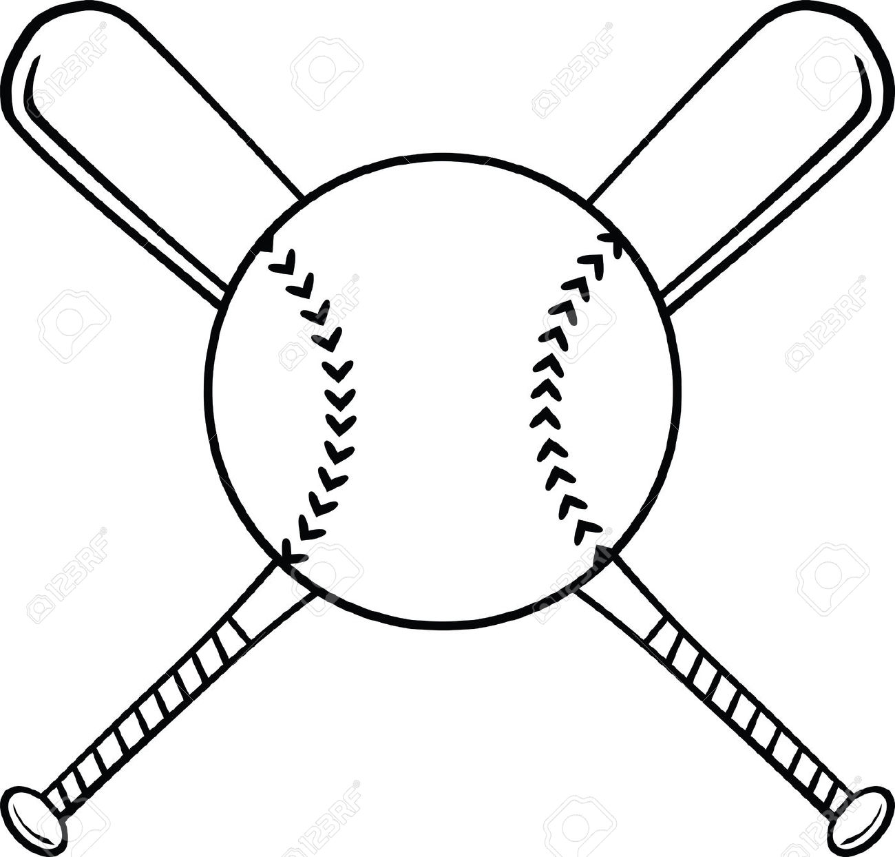 Softball ball and bat clipart.