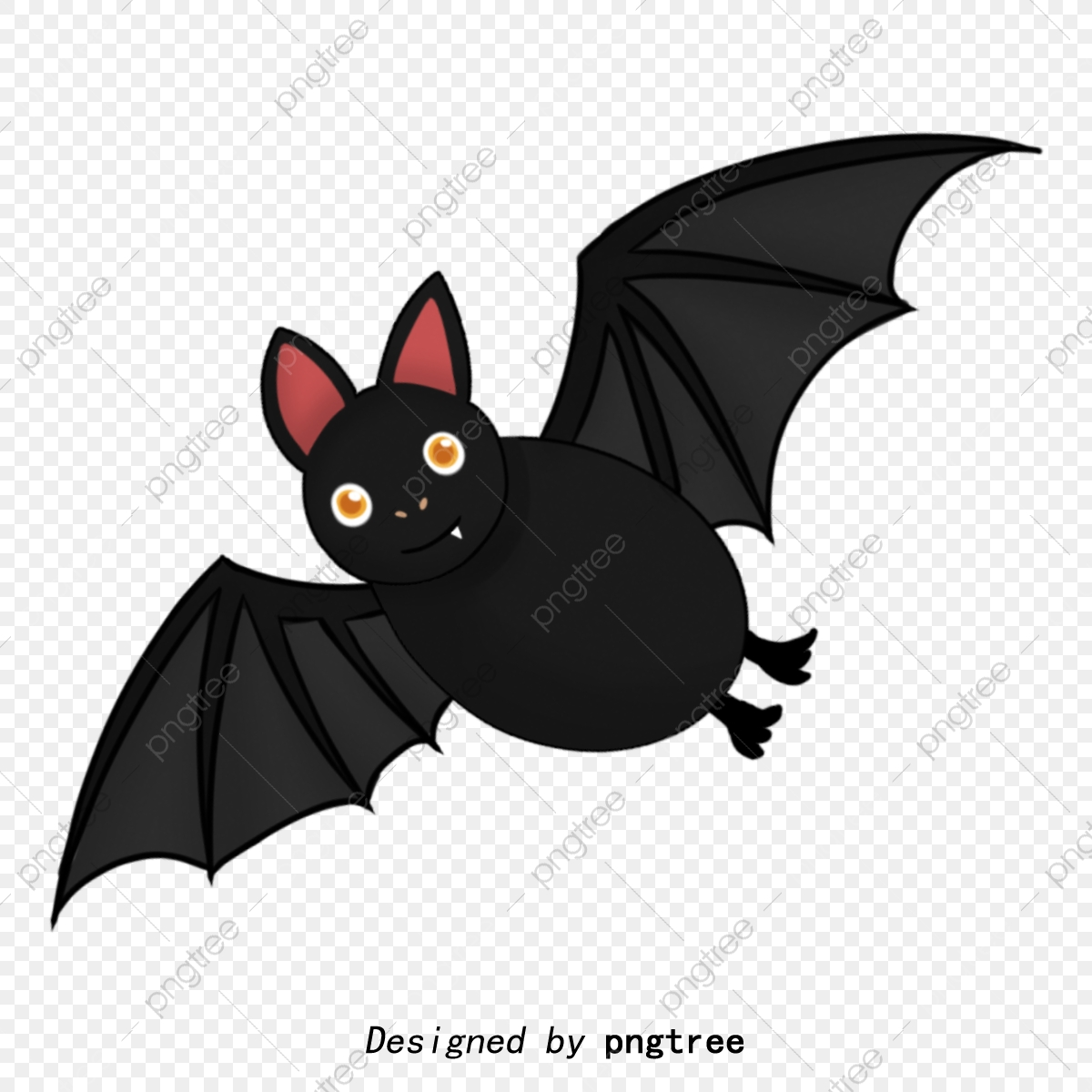 Hand Painted Cartoon Black Bat, Animal, Cartoon, Lovely PNG.