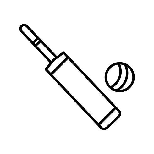 Bat and ball line black icon.