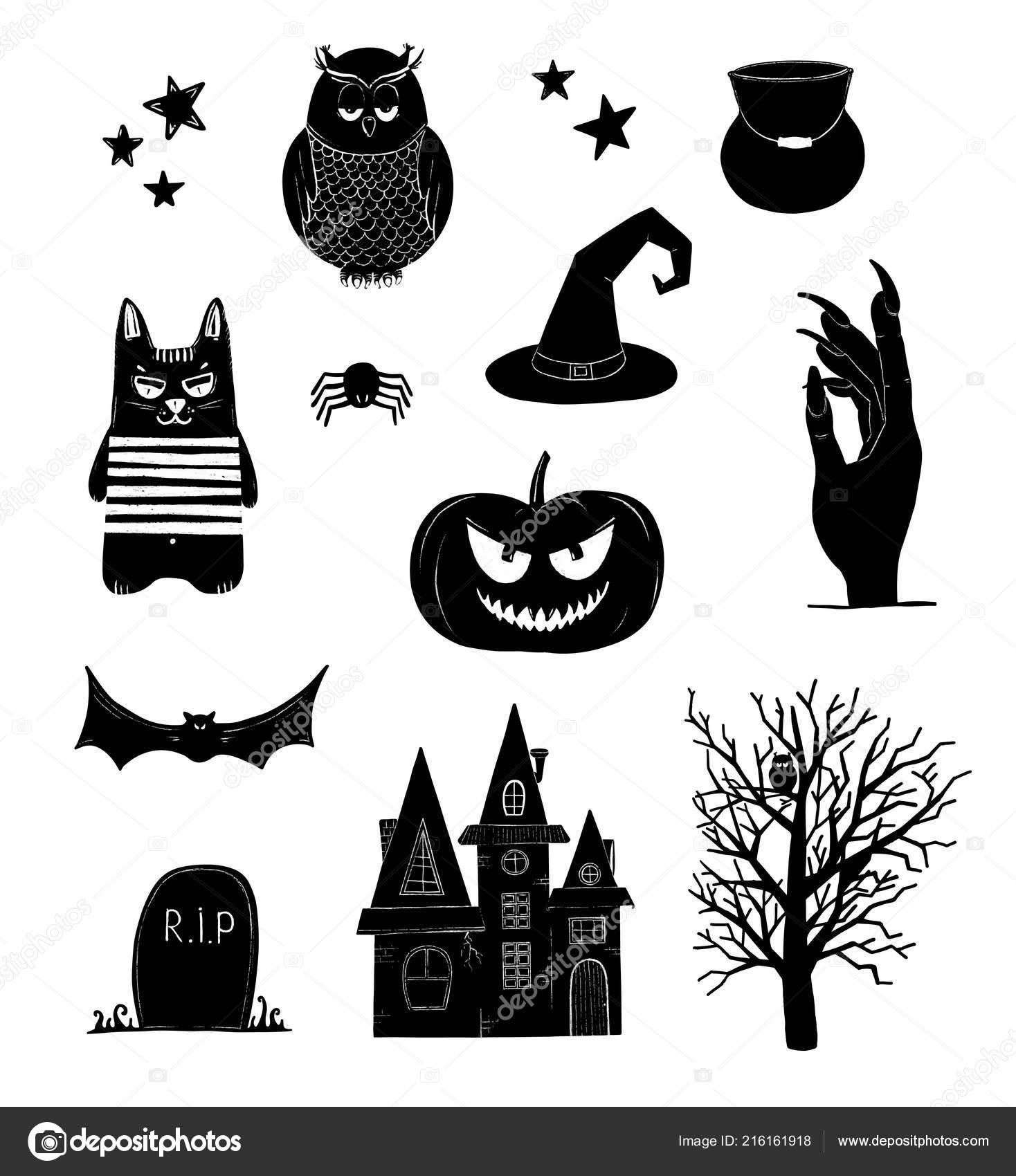 Halloween Clip Art Black White Pumpkin Owl Witch Bat Clipart — Stock.