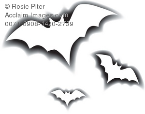Clip Art Illustration Of The Outlines Of Flying Bats.