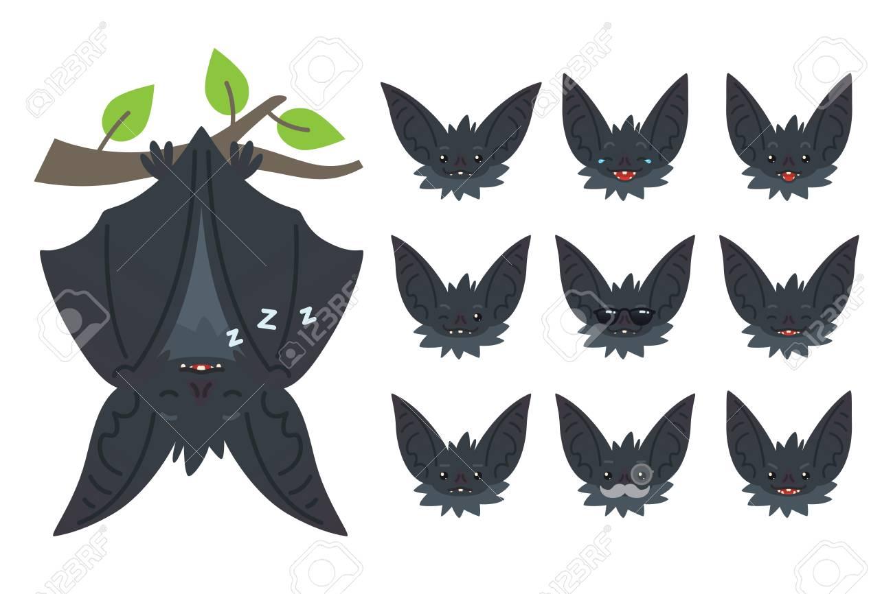 Bat sleeping, hanging upside down on branch. Animal emoticon...