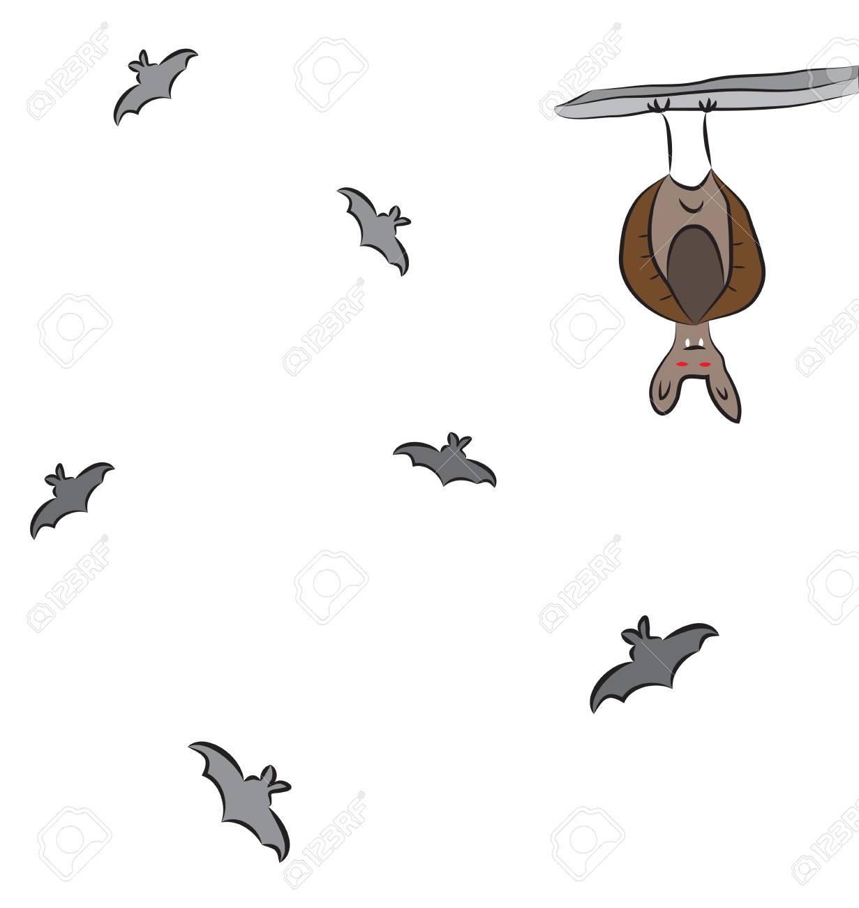 Flying group of bats, resting bat hanging upside down..