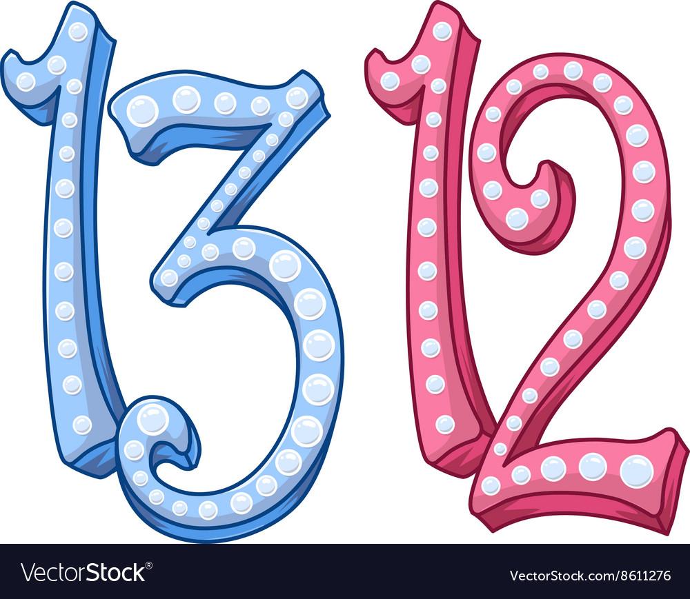 Pink Blue Shiny Number 12 13 For Bar Bat Mitzvah.