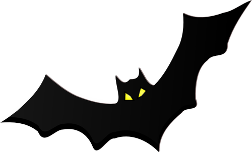 Bat silhouette with yellow eyes vector clip art.