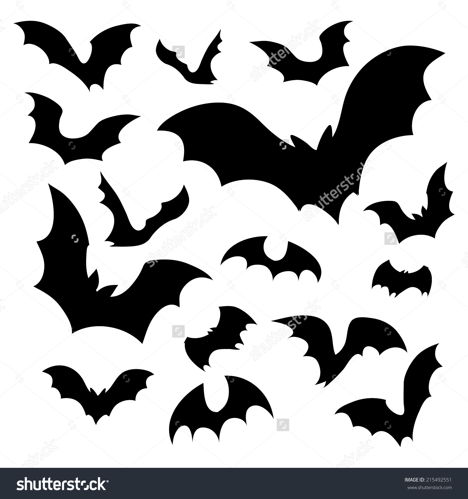 Big Set Black Silhouettes Bats Vector Stock Vector 215492551.