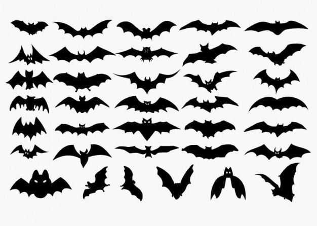 vector set of halloween bat silhouette.