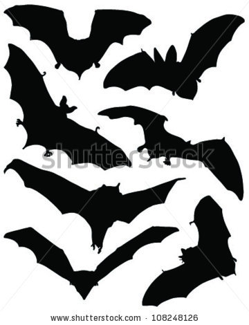 Bat Silhouette Stock Images, Royalty.