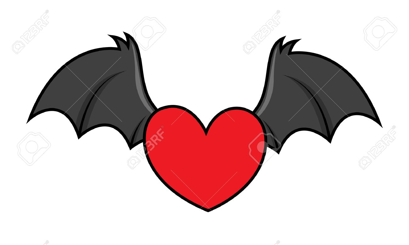 flying evil heart with bat wings.