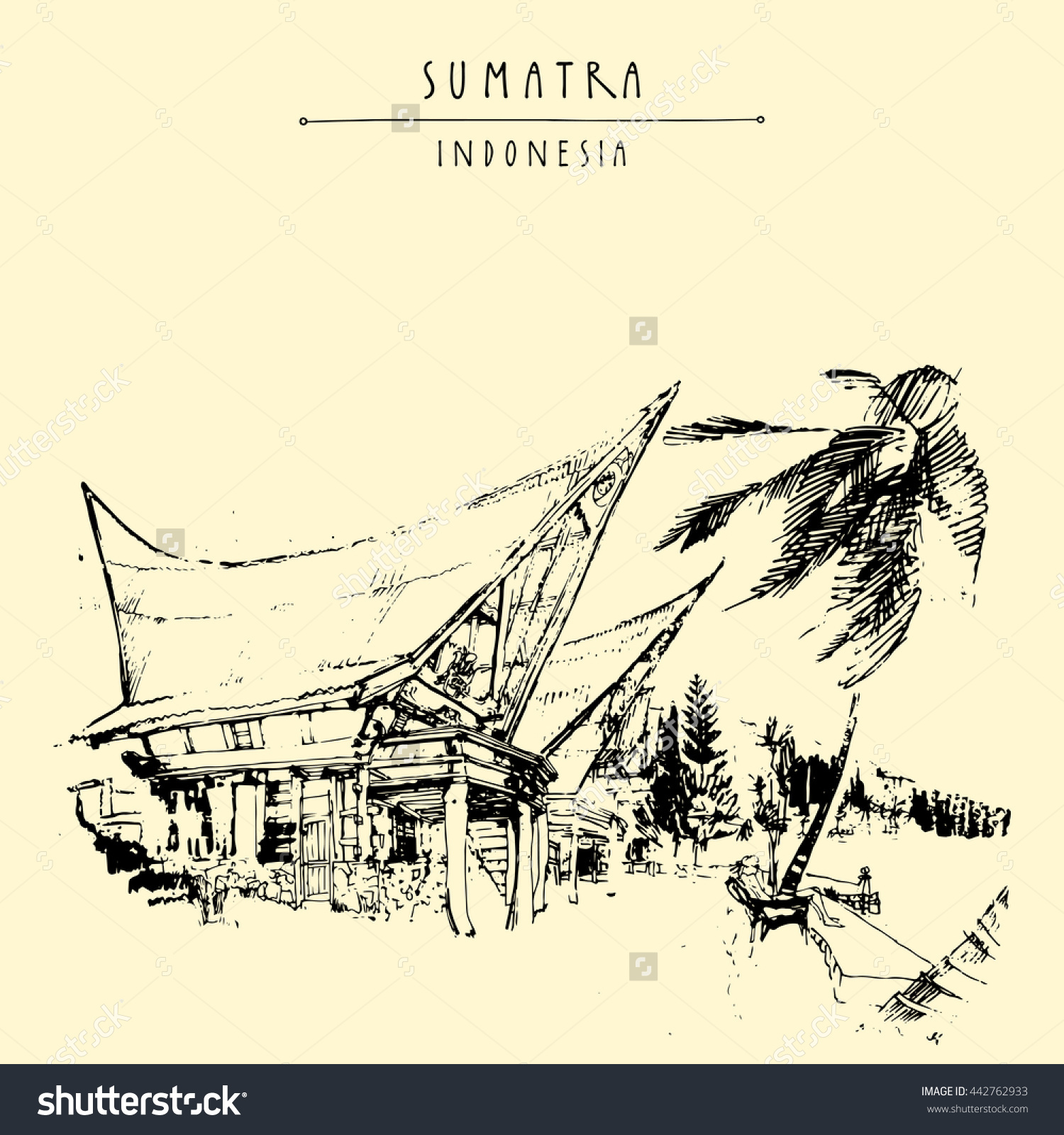 Houses On Lake Toba Sumatra Indonesia Stock Vector 442762933.