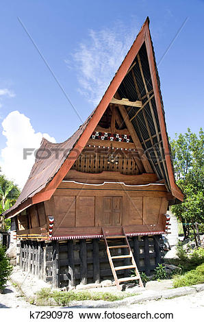 Pictures of Traditional Batak house on the Samosir island.