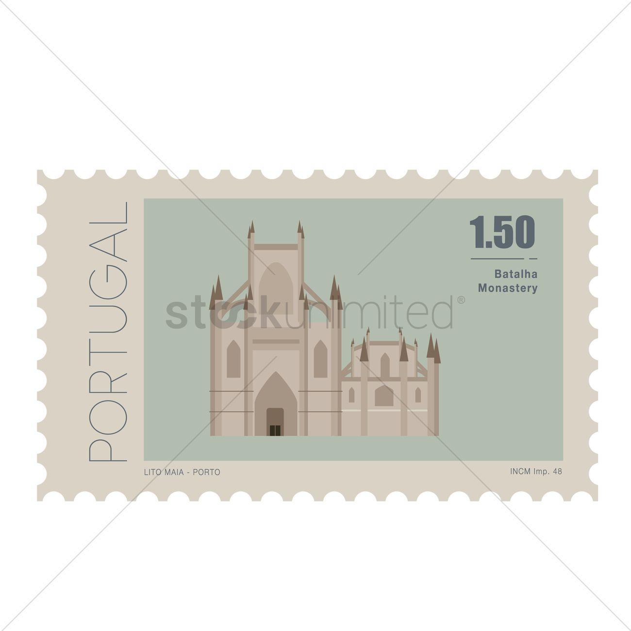 Batalha monastery postage stamp Vector Image.
