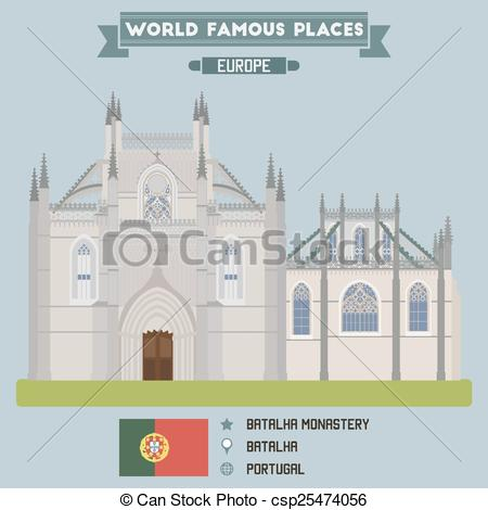 Clipart Vector of Batalha monastery. Portugal famous places.