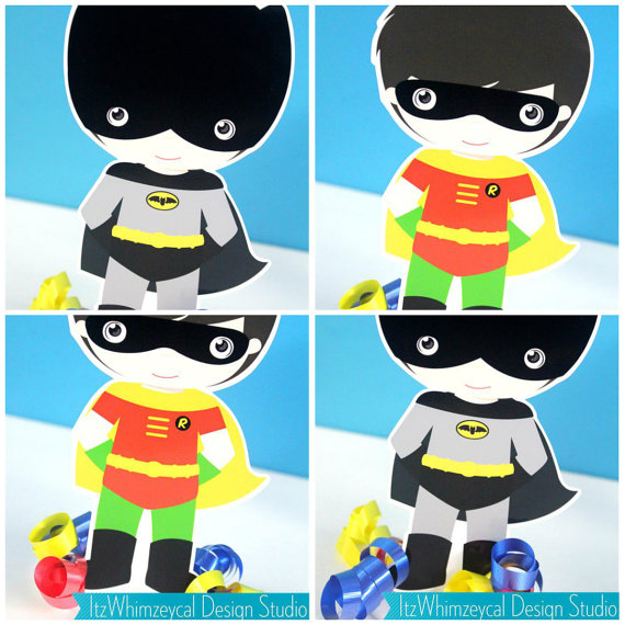 Classic Superhero Bat Boy & Robin Boy Centerpiece by ItzWhimzeycal.