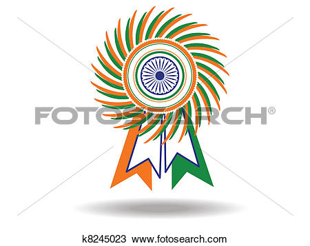 Clipart of Beautiful batch of Indian National flag. Vector.