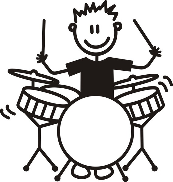Playing Drums Clipart Black And White.