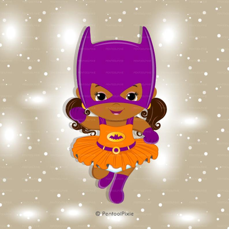 African American Batgirl girl clipart, Baby Batgirl clipart, Superhero baby  girl clipart, Baby girl clipart, African clipart.