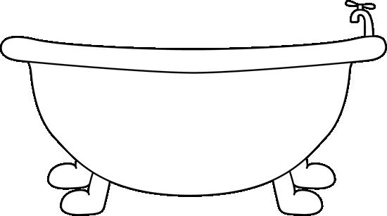 Black and White Bathtub Clip Art Image.