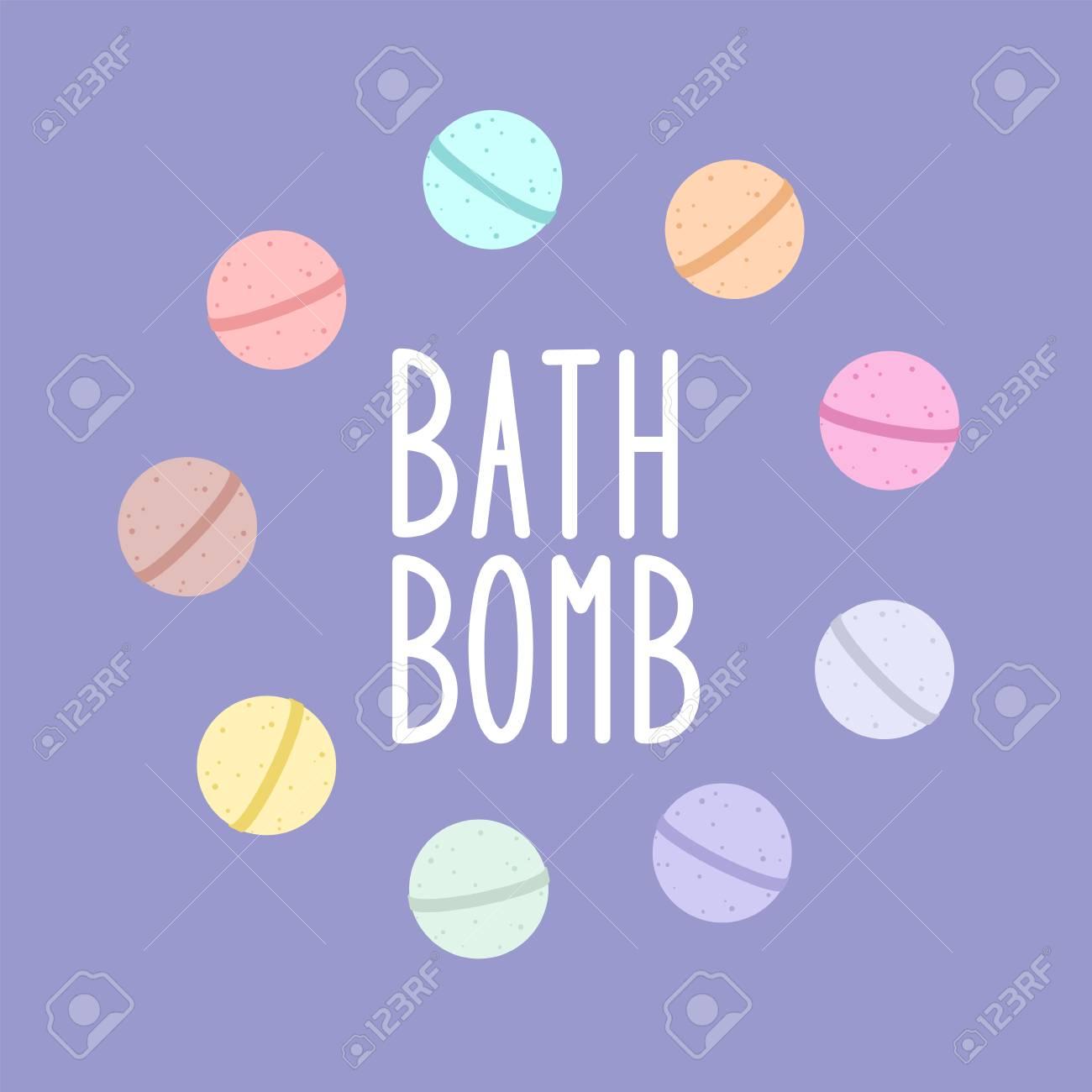 Bath bomb. Vector cartoon frame.