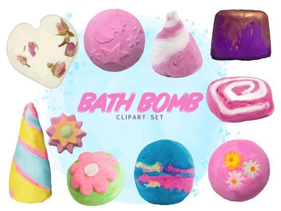 Hand Painted Lush Bath Bomb Clipart Set.