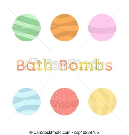Bath bomb cartoon set. Nature organic soap, aromatherapy, heathcare,  hygiene..