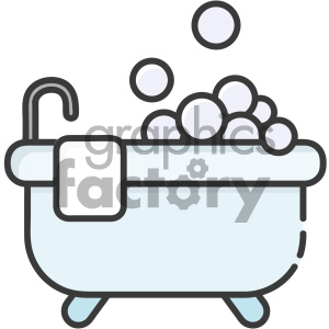 Bubble bath vector art clipart. Royalty.