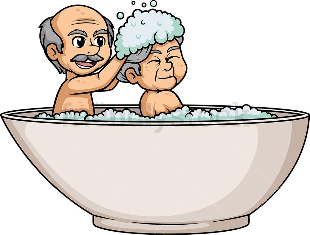 Old Couple Having A Bath In Bathtub.