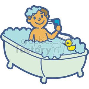 boy taking a bath cartoon clipart. Royalty.