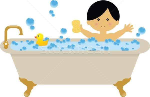 Clipart taking a bath.