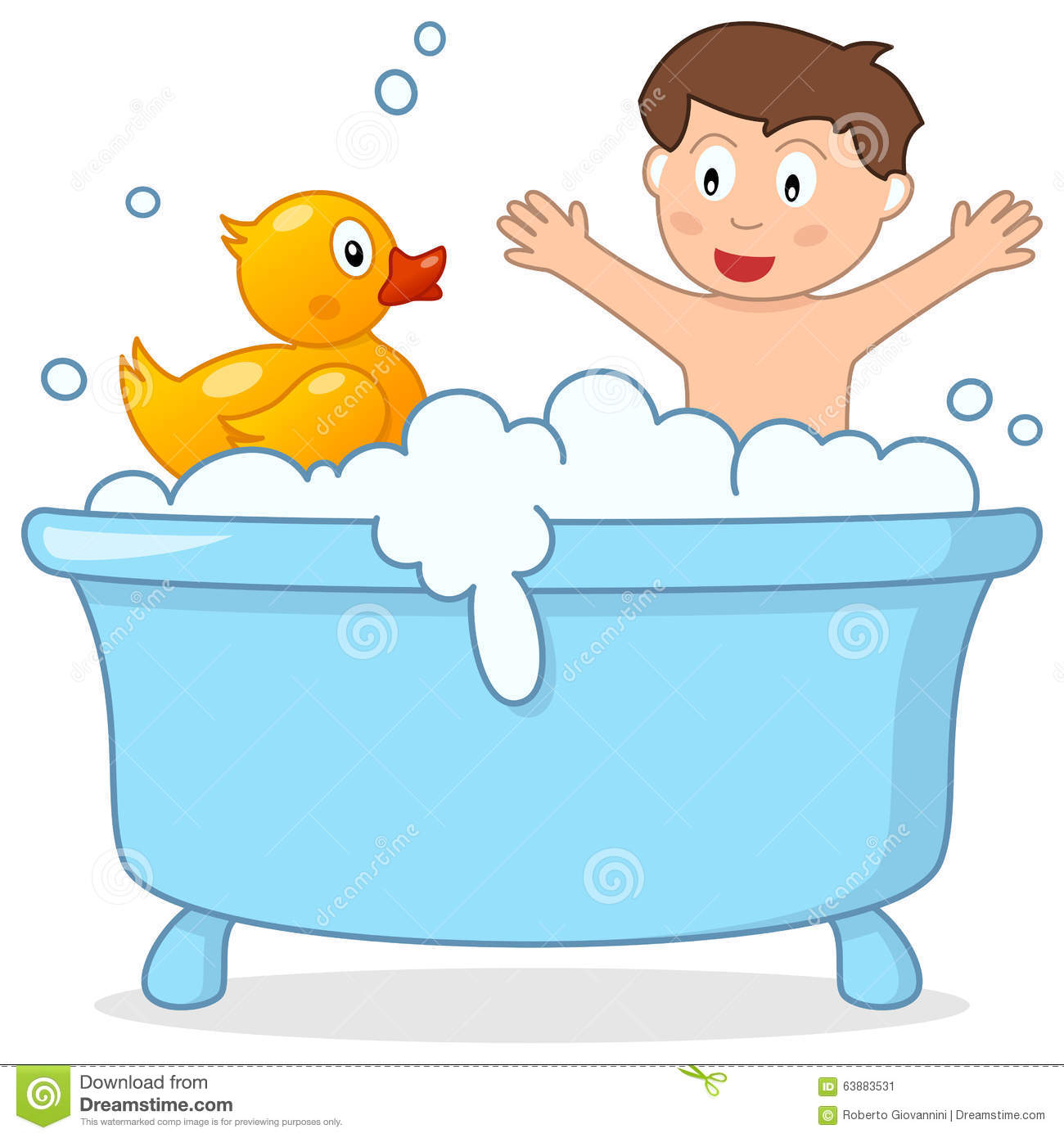 Boy bath clipart.