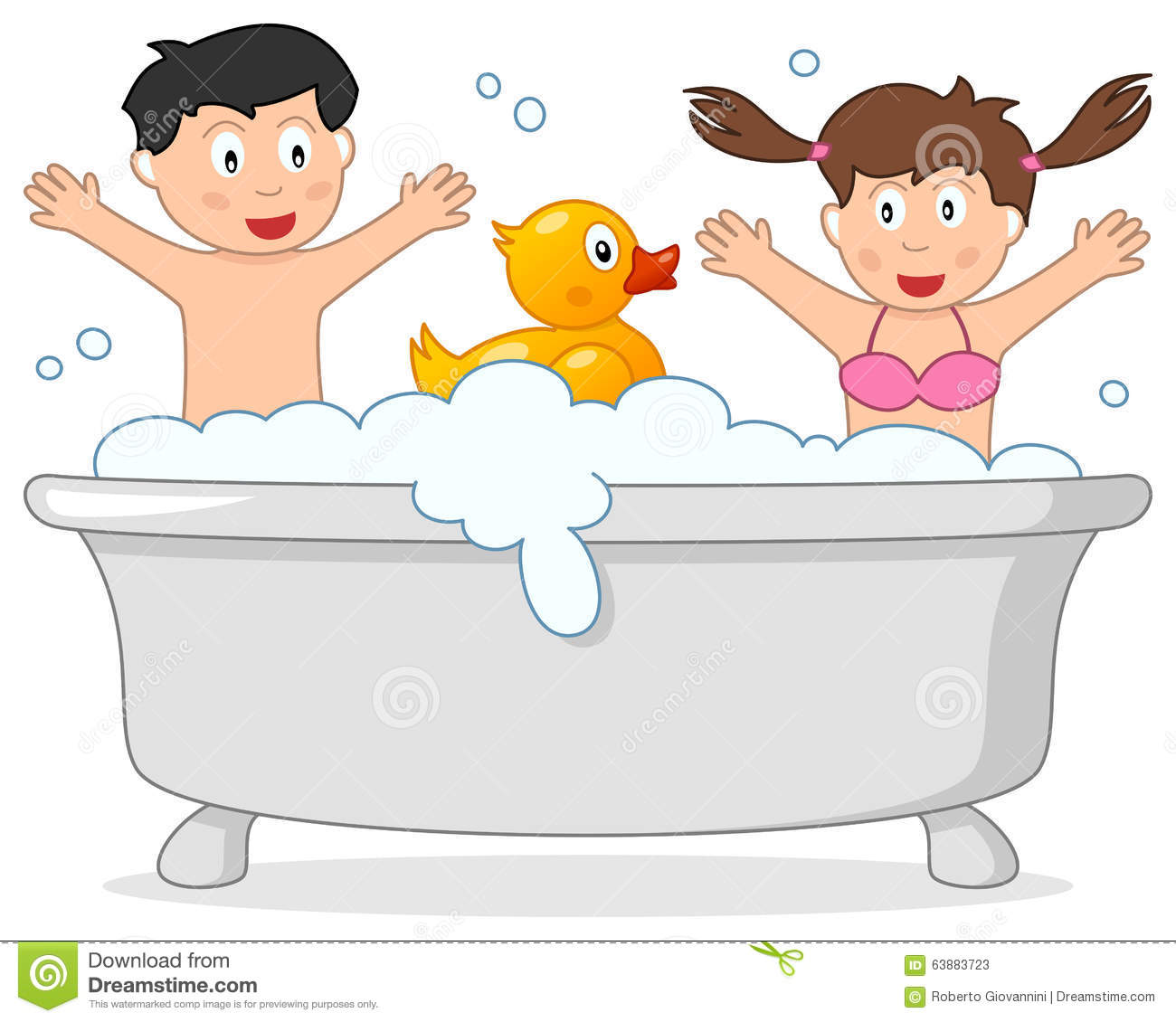 Bath Time With Little Boy & Rubber Duck Stock Vector.