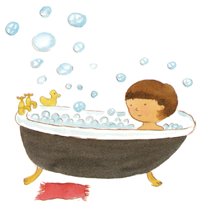 Girl Bath Time Clipart.