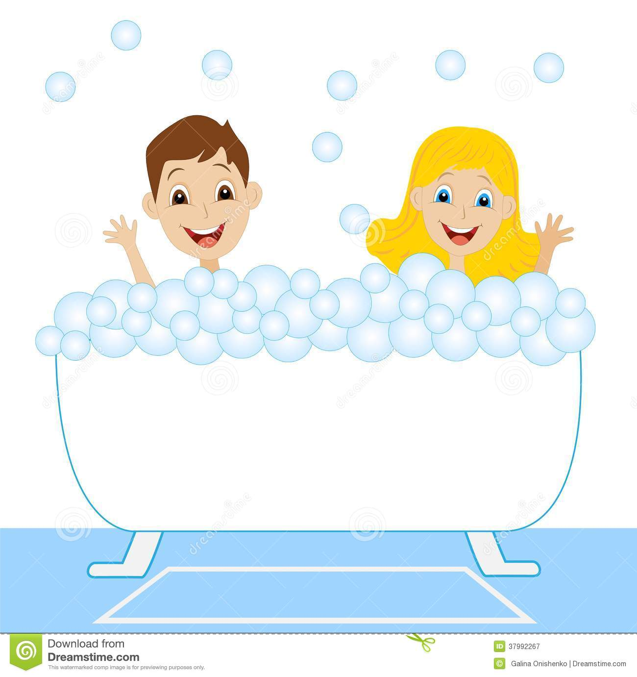 A Little Girl And Boy Bath In Bath With Foam Royalty Free Stock.