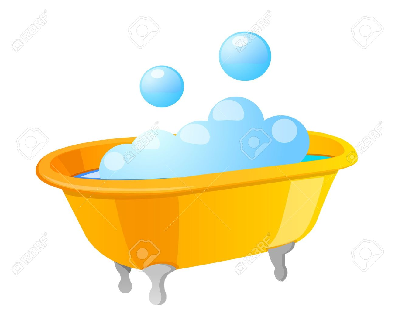 Bathtub with bubbles clipart.