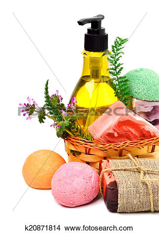 Stock Photo of Different handmade soaps, bath bombs, gel and herbs.