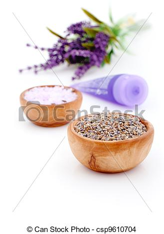 Stock Photo of dry Lavender herbs and bath salt isolated on white.
