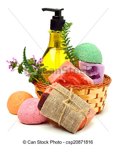 Stock Photography of Different handmade soaps, bath bombs, gel and.