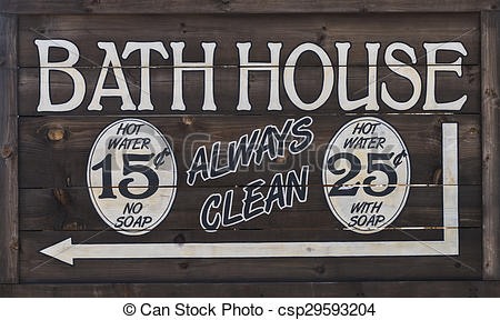 Stock Photography of Western Bathhouse Sign.