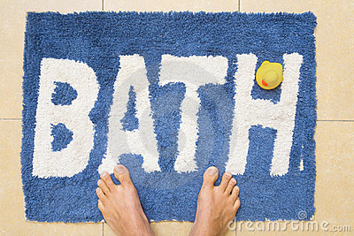 Top View Of Isolated Colorful Bath Mat Royalty Free Stock.