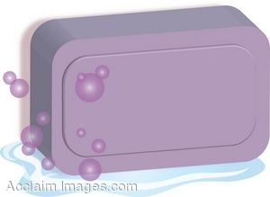 Clip Art of a Bar of Soap With Bubbles.