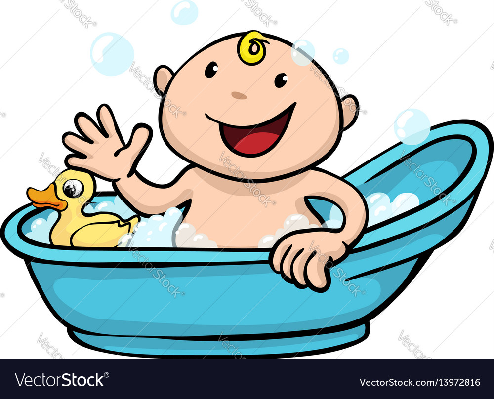 Happy cute baby bath time.