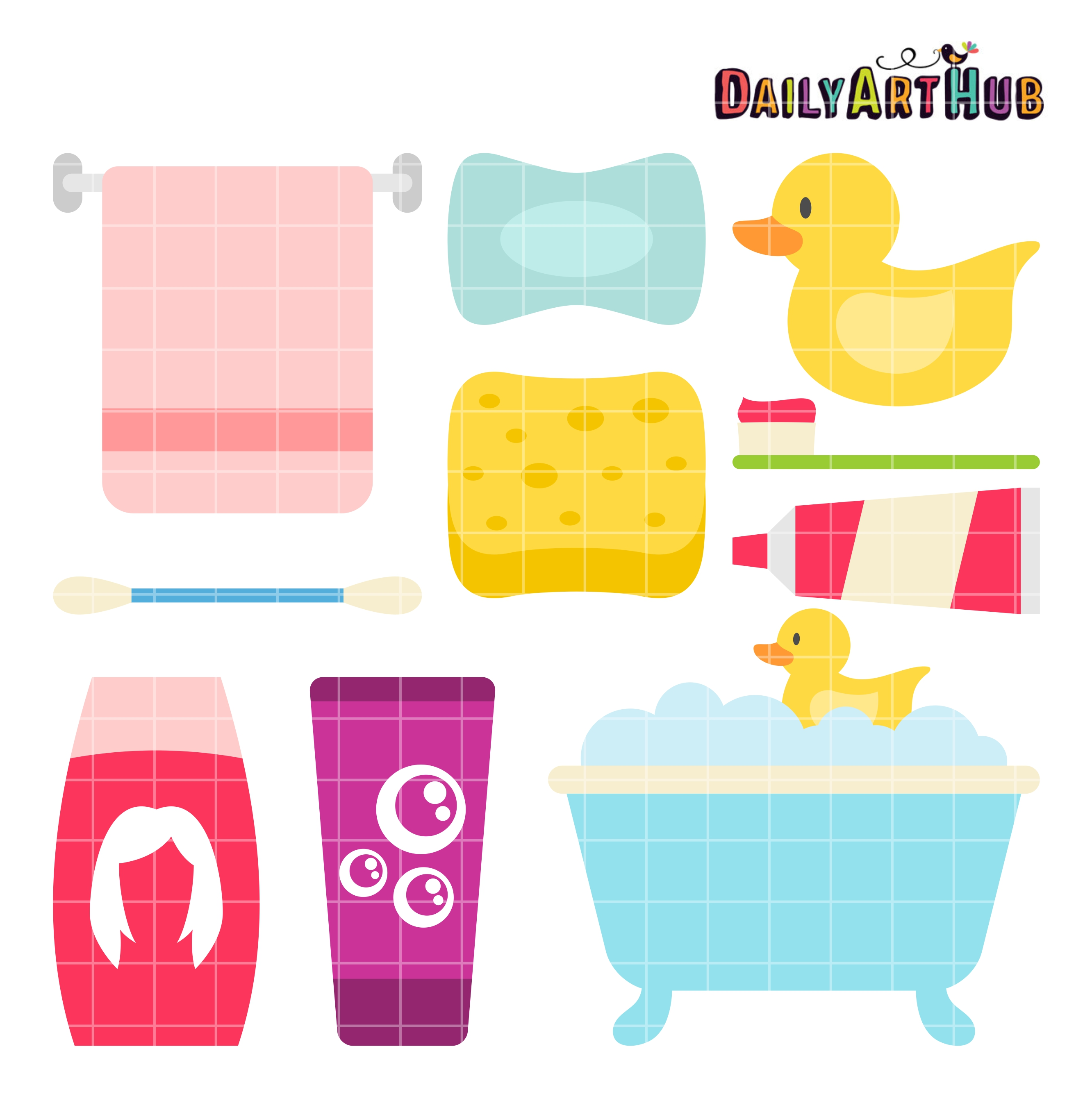 Bath Time Clip Art Set.