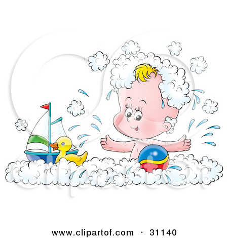 Clipart Illustration of a Cute Yellow Rubber Duck Relaxing In A.