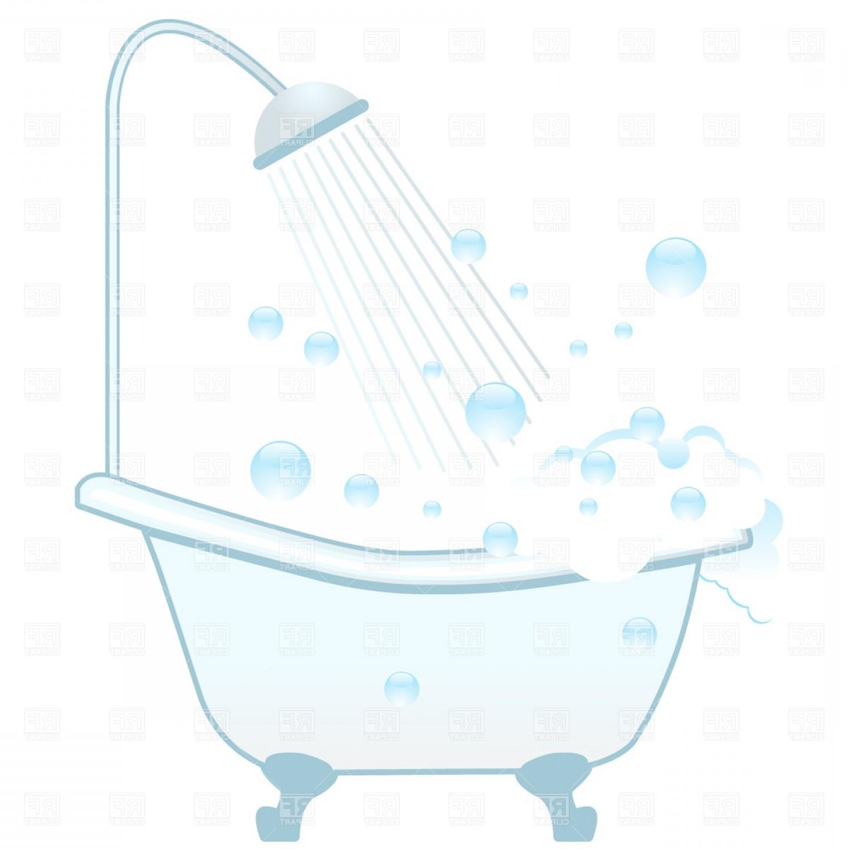 Bathtub Shower And Foam Vector Clipart.